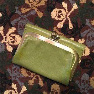 HOBO avocado green leather wallet